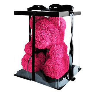Мишка из роз 70 см розового цвета